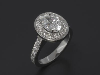 Oval Cut Diamond, 1.53ct, D Colour, VS2 Clarity, Four Claw Set in Platinum with Round Brilliant Cut Diamond, 0.80ct (28), Pavé Set Halo and Shoulder