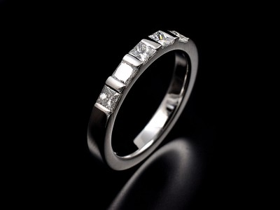 Platinum Princess Cut Bar Set Wedding Ring