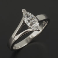 Marquise Cut 0.50ct D Colour VVS1 Clarity in a Platinum Split Shoulder Claw Set Solitaire Design.