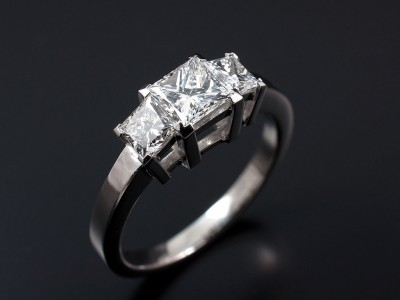 Platinum Trilogy with 0.72ct E VVS2 and 2 x 0.35ct F VS Princess Cut Diamonds