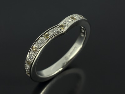 Platinum Wishbone Pavé Set Diamond and Yellow Sapphire Fitted Wedding Ring.