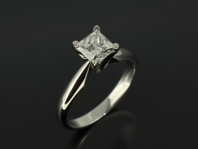Princess Cut 1.01ct F Colour SI2 Clarity EXEX in 4 Claw Platinum Solitaire Design.