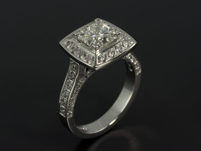 Princess Cut 2.01ct J Colour VS2 Clarity in a Platinum Pavé Set Halo Design with Round Brilliant Cut Diamonds 1.19ct Total