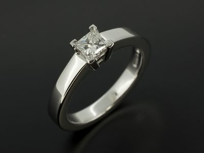 Princess Cut Diamond 0.32ct E Colour VS1 Clarity Set In 18kt White Gold in a Four Claw Design