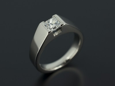 Princess Cut 0.60ct D Colour VS2 Clarity in a Palladium Tension Set Contemporary Design.