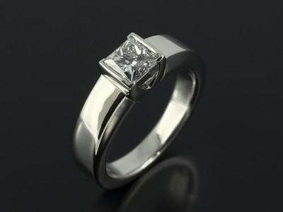 Princess Cut 0.70ct E Colour SI1 Clarity in a Half Rub Over Contemporary Setting in Platinum.