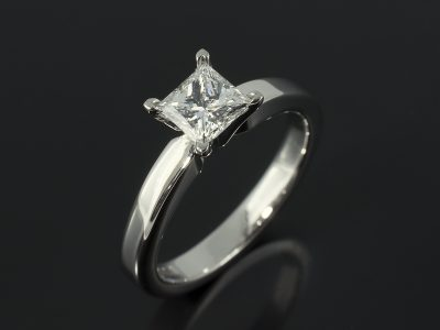Princess Cut 0.71ct E Colour VS1 Clarity in a 4 Claw Palladium Solitaire Design.