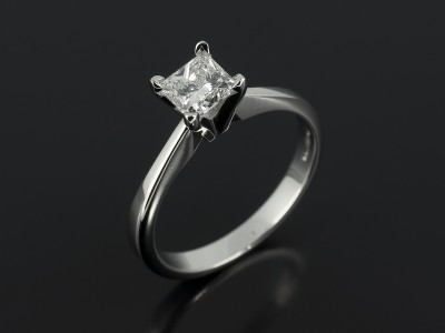 Princess Cut 0.73ct F Colour VS2 Clarity in a Platinum 4 Claw Solitaire Design.