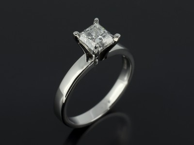 Princess Cut 0.90ct D Colour VVS2 Clarity in a Platinum 4 Claw Solitaire Design.