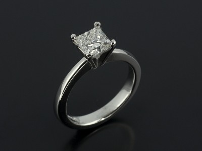 Princess 0.92ct G Colour VVS2 Clarity in a 4 Claw Platinum Setting with Tapered Raise Shoulders.