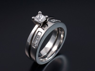 Princess Cut 0.50ct F VS1 Solitaire with a Hand Made Fitted Princess Cut Channel Set Wedding Ring.