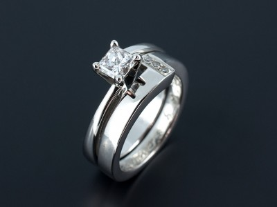 Princess Cut 0.51ct E SI2 Platinum Engagement Ring with Fitted Wedding Ring Comprising Round Brilliant Pave Set Diamonds.