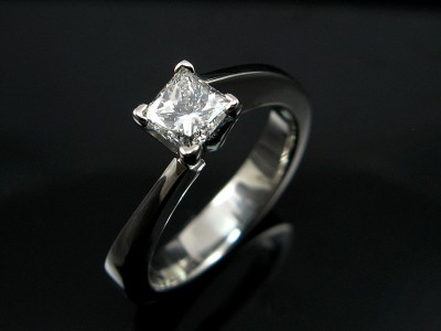 Princess Cut 0.52ct G VS2 in a Platinum 4 Claw Twist Setting.