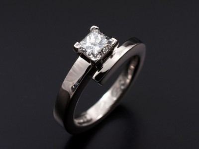 Princess Cut 0.60ct F VS1 in a Palladium 4 Claw Setting with Twist Band