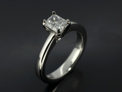 Radiant Cut 0.78ct D Colour VS2 Clarity in a 4 Claw Palladium Solitaire Setting.