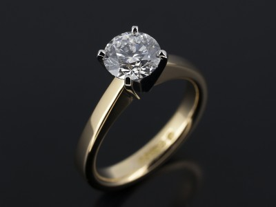 Round Brilliant 1.03ct D Colour SI1 Clarity EXEXEX 4 Claw Platinum and 18kt Yellow Gold Setting.