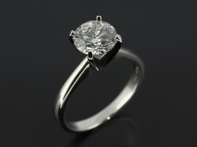 Round Brilliant 1.21ct D Colour SI1 Clarity EXEXEX in a 4 Claw Platinum Solitaire Setting.
