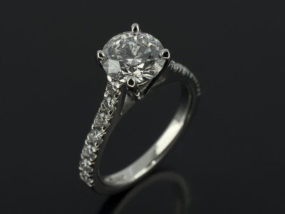 Round Brilliant 1.21ct D Colour VS1 Clarity Triple Excellent in a 4 Claw Platinum Setting with Diamonds Claw Set Raised Shoulders.