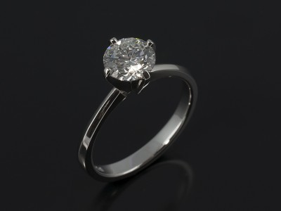 Round Brilliant Cut 1.23ct F Colour SI2 Clarity in a Platinum 4 Claw Compass Solitaire Setting.