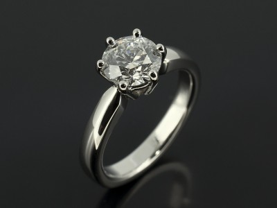 Round Brilliant 1.27ct D Colour SI1 Clarity EXEXEX in a 6 Claw Platinum Contemporary Solitaire Design.