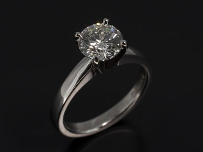 Round Brilliant Cut Diamond 1.31ct H Colour VVS2 Clarity, Triple Excellent Set in Platinum in a Four Claw Solitaire Design