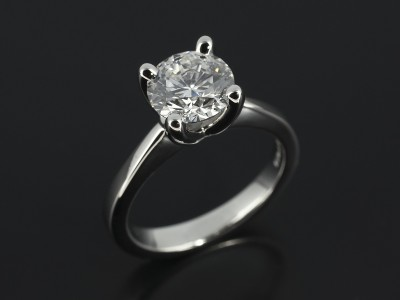 Round Brilliant 1.32ct D Colour SI1 Clarity Triple Excellent in a 4 Claw Platinum Setting.