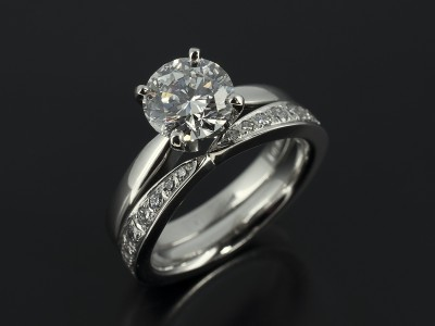 Round Brilliant 1.51ct with Fitted Pavé Set Diamond Platinum Wedding Ring.