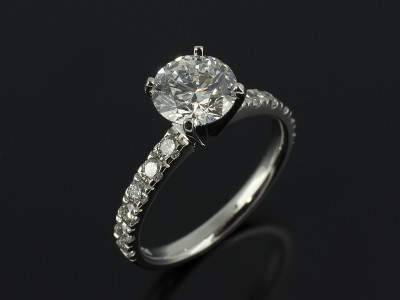 Round Brilliant Cut 1.65ct D Colour SI1 Clarity EXEXEX in a 4 Claw Platinum Setting with Diamond Claw Set Shoulders.