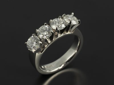 Round Brilliant 2.11ct Total D Colour SI1 Clarity Triple EX in a Platinum 4 Claw Set Design.