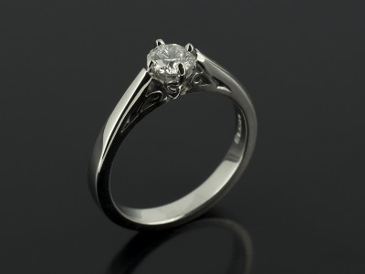 Round Brilliant 0.42ct G Colour SI1 Clarity in a Palladium 4 Claw Compass Scroll Detailed Design