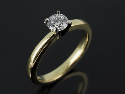 Round Brilliant 0.43ct D Colour SI1 Clarity EXEXEX in an 18ky White and Yellow Gold Solitaire Design.