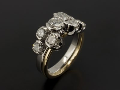 Half Rub Over Set Satellite Dress / Eternity Ring Round Brilliant Cut Diamonds 1.74ct Total in 18kt Yellow Gold and Palladium.