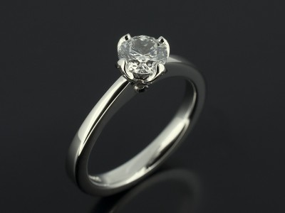 Round 0.51ct D Colour SI1 Clarity 4 Claw NSEW Tulip Style Setting in Platinum