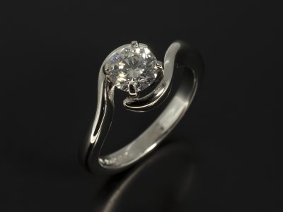 Round Brilliant Cut Diamond 0.70ct E Colour SI1 Clarity, Triple Excellent Set in Platinum in a Four Claw Twist Design