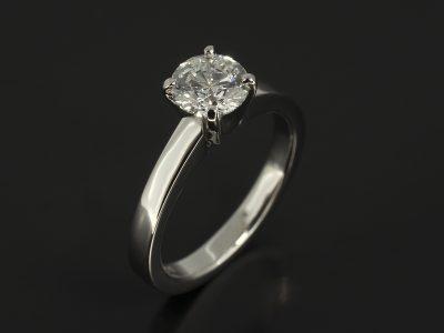 Round Brilliant Cut Diamond 0.81ct E Colour, VS2 Clarity, Triple Excellent Set in Platinum in a Four 'V' Claw Solitaire Design