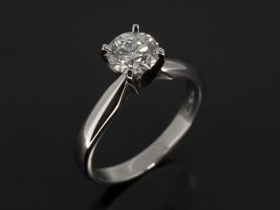 Round Brilliant Cut Diamond 0.85ct D Colour SI1 Clarity, Triple Excellent Set in Platinum in a Four 'V' Claw Solitaire Design