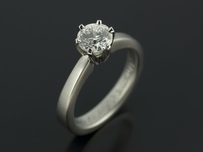 Round Brilliant 0.85ct G Colour VS2 Clarity in Brushed Palladium 6 Claw Setting.