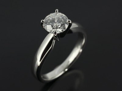 Round Brilliant 0.92ct D Colour SI1 Clarity Triple Excellent in a 4 Claw Platinum Setting.