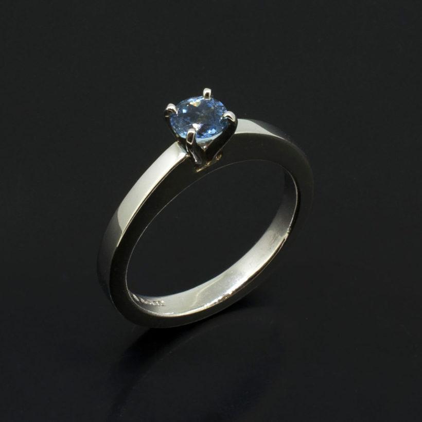 Round Brilliant Cut Aquamarine 0.36ct in a Platinum 4 Claw Solitaire ring, solitaire aquamarine platinum ring, March birthstone jewellery gift, platinum claw set aquamarine ring, fine jewellery designed in Glasgow