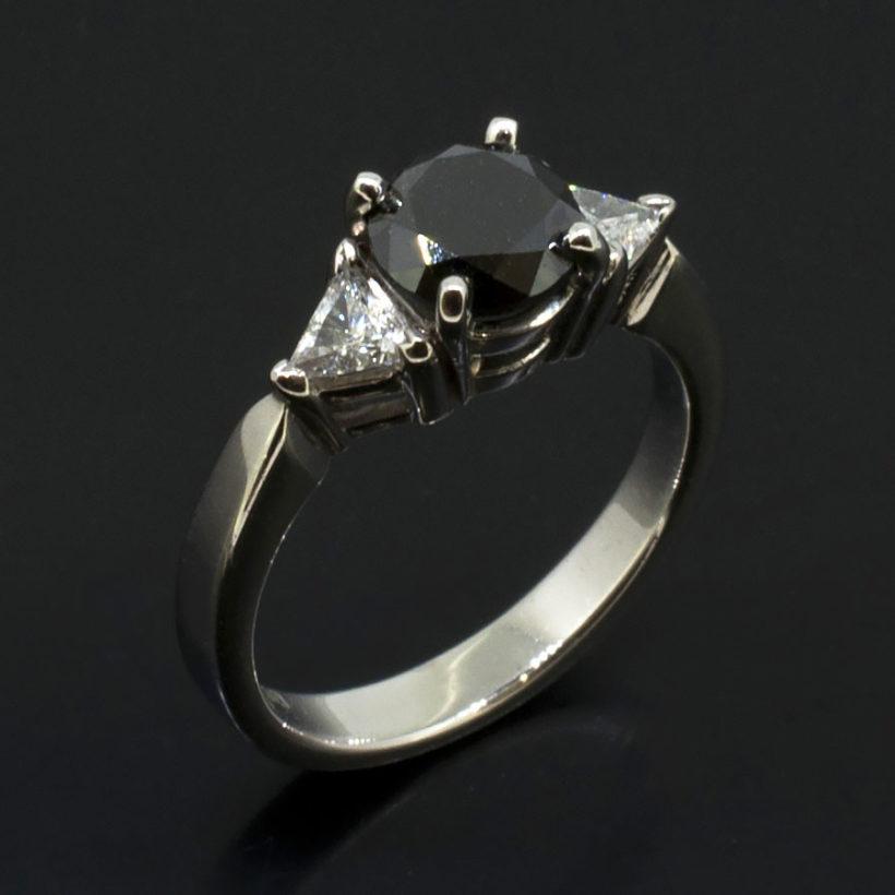 black diamond trilogy ring, trilliant diamond ring, black diamond engagement ring, trilliant diamond shoulder set ring, stone set shoulder ring