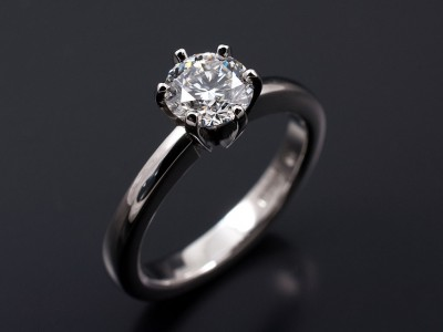 Round Brilliant 0.90ct E VS2 in a Hand Made 6 Claw Platinum Setting.