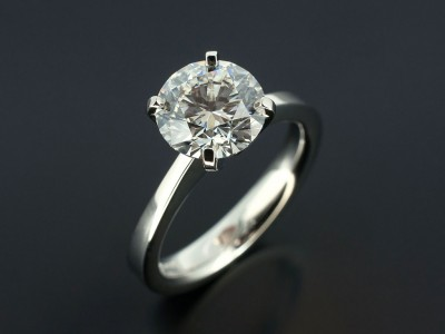 Round Brilliant 2.06ct E Colour VS2 Clarity EX Cut EX Polish EX Symmetry in a 4 Claw Hand Made Platinum Setting.