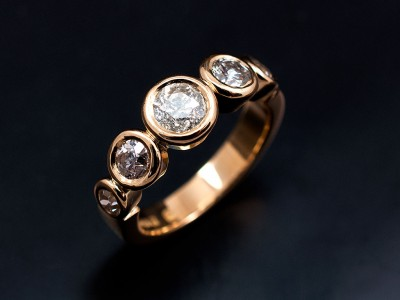 Round Brilliant Five Stone Rub Over Engagement Eternity Ring Comprising 0.41ct, 2 x 0.30ct and 2 x 0.15ct G VS Diamonds Hand Made in 18kt Yellow Gold.