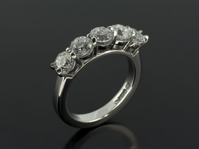 Round Brilliant 1.20ct Total D Colour VS Clarity Eternity / Wedding Ring in a Platinum Shared Claw Setting.
