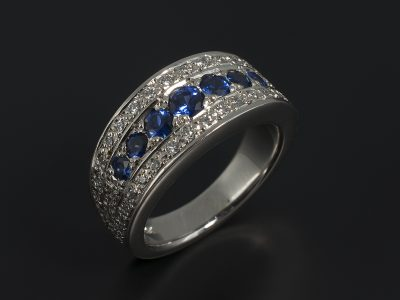 Eternity Ring with Round Brilliant Sapphires 0.71ct Total and Round Brilliant Diamonds 0.40ct Total in a Palladium Pavé Set Design.