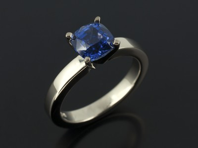 Cushion Cut Sapphire 1.28ct in an 18kt White Gold 4 Claw Setting>