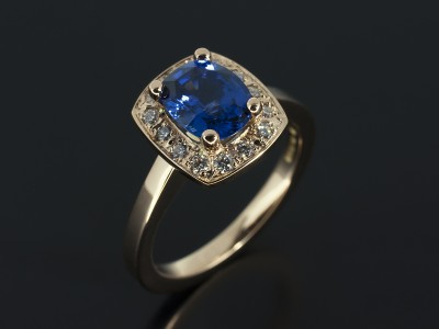 Cushion Cut Ceylon Sapphire 1.51ct with Pavé Set Diamond Halo 18kt Rose Gold.