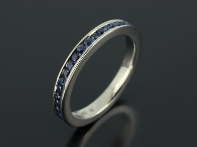 Palladium Full Channel Set Ring with Round Brilliant Cut Sapphires x 41, 0.68ct Total.