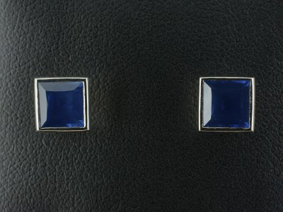 Princess Cut Sapphire Earrings 2.19ct in an 18kt White Gold Rub Over Design