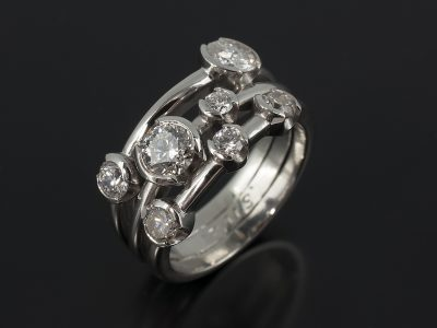 Platinum Half Rub Over Set Satellite Design 1.17ct Total D/E Colour VS Clarity.